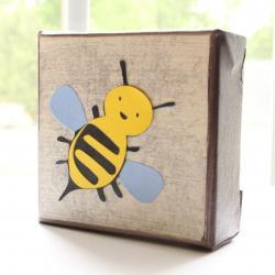 Bee- Cute Art Block- 4x4 inches