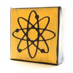 Atom Art Block- Modern Atomic- Free Shipping